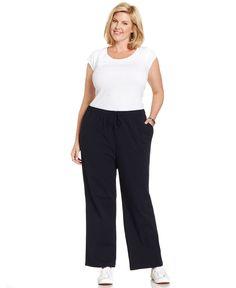 Karen Scott Plus Size Lounge Drawstring Pants