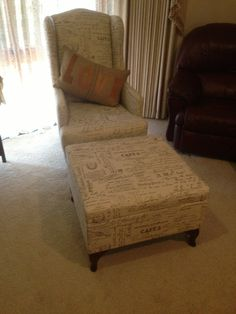 Victoria Grayson ottoman that my fiancé made for Mum to match her Victoria chair from Revenge.