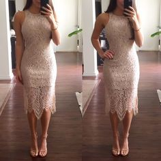 Champagne Lace Dress Champagne colored lace dress with lining underneath it. This dress is so beautiful and perfect for a special event. Brand new with tags. Dresses
