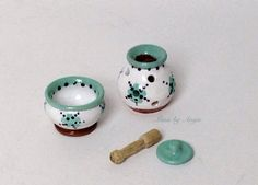 Dollhouse miniature terracotta. Miniature mortar by MinisbyAngie, €12.00