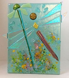 Handcrafted fused glass night light- Magic Collection- One of a kind Dragonfly Stained Glass Night Lights, Glass Lights, Glass Butterfly, Glass Flowers, Magic Bottles, Glass Fusing Projects, Wine Bottle Candles, Fire Glass, Glass Animals
