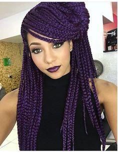 Dark purple box braids