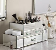 Mirrored Make Up Storage | Pottery Barn | Great table top storage for any room including a dressing room or closet - keep make-up jewelry, perfume bottles......