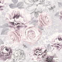 Graham & Brown - Fresco Romantic Ink Pink, Purple & Grey Floral Wallpaper | Departments | DIY at B&Q