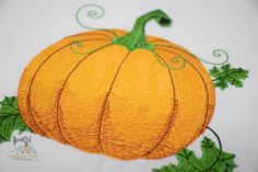 """We are calling this one, """"Painted Pumpkin""""... it is a little hard to see all the shading in the photo, but Jonathan used a few different shades of green and orange to give this design a pretty """"painted"""" look. I think it would be beautiful on some linen towels, table runner or tablecloth. Custom Embroidery, Machine Embroidery Designs, Different Shades Of Green, Linen Towels, Painted Pumpkins, Green And Orange, Table Runners, Printing, Stitch"""