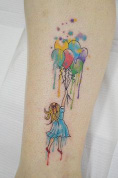 tattoo / aquarela / girl / balloon