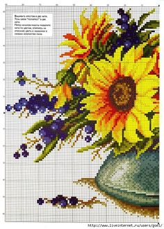 cross-stitch sunflower & berries, part 1...  color chart on part 2