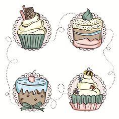 #cupcakes #illustration Cupcake Torte, Cupcakes, Cupcake Illustration, Cute Illustration, Cupcake Drawing, Cupcake Painting, Cupcake Pictures, Decoupage, Isometric Art