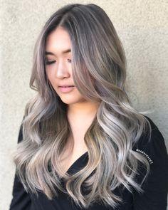 Blonde Asian Hair, Silver Blonde Hair, Brown Hair Balayage, Hair Highlights, Boliage Hair, Cool Hair Color, Gorgeous Hair, Hair Looks, Dyed Hair