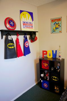I've pinned pretty much all this stuff. Same Wolverine sign, but have the giant Captain America shield for Dom's room. Superhero Bedroom {Custom Corner - Felt Love} - Home Decorating DIY