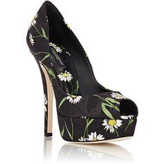 Dolce & Gabbana Women's Daisy Brocade Platform Pumps ($339) ❤ liked on Polyvore featuring shoes, pumps, peep toe pumps, black stiletto pumps, high heel shoes, black stilettos and stiletto pumps