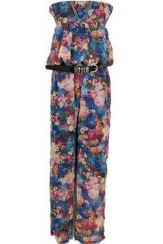 #SheInside Blue Strapless Painting Print Loose Chiffon Jumpsuit