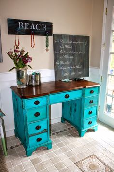 "I get so many compliments on this turquoise color milk paint.    It's from the Real Milk Paint Company and their name is ""cobalt"".  This ti..."