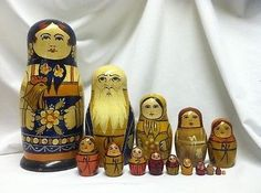 These dolls are especially great as the firstmaiden doll is holding a sweet rooster like the first nesting doll ever made! Matryoshka Doll, Kokeshi Dolls, Rare Antique, Antique Dolls, Church Banners, Hobby Shop, Wooden Toys, Folk Art, Antiques