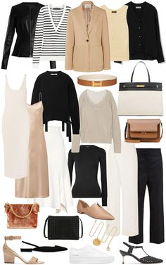 A spring capsule wardrobe - a note on style wardrobe basics, work wardrobe, Capsule Wardrobe Work, Capsule Outfits, Fashion Capsule, Wardrobe Basics, Fashion Outfits, Travel Outfits, Professional Wardrobe, Capsule Clothing, Summer Work Wardrobe