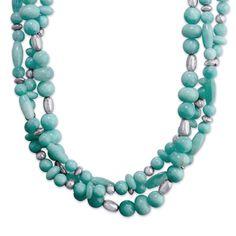 Carolyn Pollack // Peruvian #Amazonite Three-Strand Torsade #statement necklace