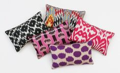 Madeline Weinrib Mini Ikat Pillows. Made from hand dyed silk and cotton thread, each pillow has been hand sewn in New York and finished with stitched suede piping, Belgian linen backing, goose down filler and mother-of-pearl buttons.