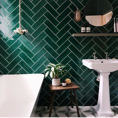 Gorgeous look from Bert and May combining Black Otura floor tiles with glazed green herringbone wall tiles - get the look with their Green glazed Siham Laying Tile Floor, Bathroom Floor Tiles, Green Tile Bathrooms, Bathroom Interior Design, Home Interior, Herringbone Wall Tile, Home Design, Master Bedroom Bathroom, Feature Tiles