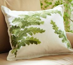 May have to get Mama to try her hand at this- combo of French knots, boullions and satin stitch in crochet thread maybe? Fern Forest, White Cottage, Ferns, Modern Outdoor Furniture, Pottery Barn, Pillow Covers, Home Furnishings, Decorative Pillows, Villa