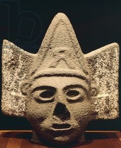 Head showing triangular hairstyle, artifact originating from Mexico. Toltec Civilization, 10th-12th Century. Museo de Antropologia de Mexico