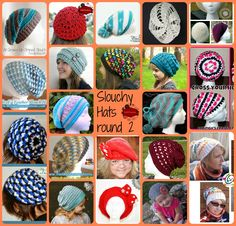 Slouchy Hat Roundup part 2 on KatiDCreations - free and paid crochet slouchy hat pattern roundup Slouch Hat Crochet Pattern, Crochet Adult Hat, Crochet Beanie Hat, Crochet Cap, Crochet Scarves, Diy Crochet, Knitted Hats, Crochet Patterns, Crochet Round