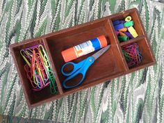 Vintage wooden box, hand made, just the right size to hold your stuff, 4 compartments, great organizer, nice rustic piece, desk accessory by TwoSwansSwimming on Etsy