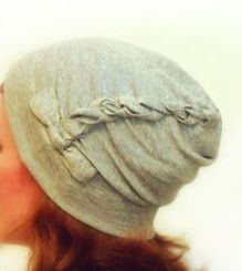 Twisted Slouch Hat from knit fabric.  Free pattern from luvinthemommyhood.