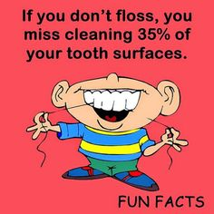 If you don't floss, you miss cleaning 35% of your tooth surfaces.