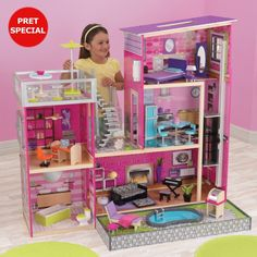 KidKraft Luxury Uptown Mansion Dollhouse, of Furniture Some type of barbie house Dreamhouse Barbie, Barbie Doll House, Barbie Dream House, Barbie Dolls, Barbie Clothes, Girl Dolls, Wooden Dollhouse, Dollhouse Furniture, Home Furniture