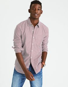 AEO STRIPE POPLIN SHIRT  A whole new level of soft for the perfect everyday button down. Seriously Soft poplin fabrication Bengal stripe print Button-down collar Patch pocket at the chest Shirttail hem Style: 0153-9883   Color: 613