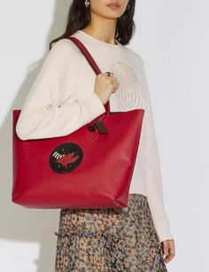 Coach Wizard of Oz Highline Tote With Motif Silver/Red Apple DEFAULT_CATEGORY Alternate View 4 Beloved Film, Ruby Slippers, Coach Leather Cleaner, Designer Totes, Wizard Of Oz, Red Apple, Leather Fabric, Warner Bros, You Bag
