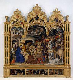 Adorazione dei Magi Gentile da Fabriano 1423 Tempera, oro e argento su tavola Commissionato da Palla Strozzi per la Basilica di Santa Trinità, Firenze Galleria degli Uffizi, Firenze