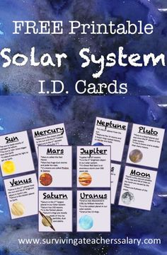 FREE Printable Solar System ID Flashcards - LOVE these watercolor galaxy planets & moon cards for kids! Cool for trading cards, homeschool lessons, reports and more! Perfect for teacher classrooms. Solar System Projects For Kids, Solar System Activities, Solar System Crafts, Space Activities, Science Activities, Solar System Kids, Solar System Worksheets, Planets Activities, Solar System Poster