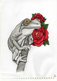 Frog, rose, tattoo, project, Black, white