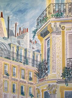 """""""Marais Balconies"""" by Emily Sutton (watercolour) from the artist's """"Town and Country"""" exhibition at the Yorkshire Sculpture Park House Illustration, Illustration Sketches, Yorkshire Sculpture Park, Urban Sketching, Art Plastique, Art Studios, Art And Architecture, Watercolor Art, Art Gallery"""