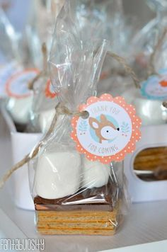 S'mores party favors! Camping party, forest woodland friends party, or any party! So simple and cute!