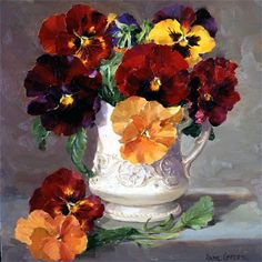 Anne Cotterill - #pansies floral art