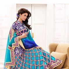Aqua #Blue Art Silk and Satin Readymade #LehengaCholi with Dupatta