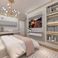 Comfy Bedroom, Bedroom Bed Design, Girl Bedroom Designs, Stylish Bedroom, Bedroom Decor, Luxury Bedroom Furniture, Wardrobe Furniture, Couple Room, Aesthetic Room Decor