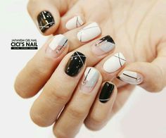 "If you're unfamiliar with nail trends and you hear the words ""coffin nails,"" what comes to mind? It's not nails with coffins drawn on them. It's long nails with a square tip, and the look has. Fancy Nails, Cute Nails, Pretty Nails, Short Nail Designs, Nail Art Designs, Hair And Nails, My Nails, Korean Nails, Geometric Nail Art"