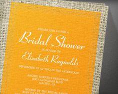 Orange Vintage Burlap Bridal Shower Invitation