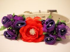 Red+Purple+Wedding+Dog++Accessory.+Red+Purple+Floral+by+LADogStore,+$47.99