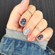 I love this mani! I recently fell in love with #freespiritjn and #lakesidejn. Wore it for 3 weeks on my fingers, took it off as I wanted a change and still wearing it on my toes.. You can shop on my website >> samevans.jamberry.com  <<
