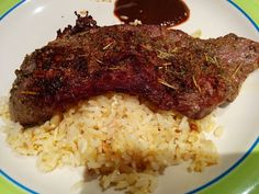 2. B  My own marinated Beef steak with herbs & spices top on butter garlic fried rice..
