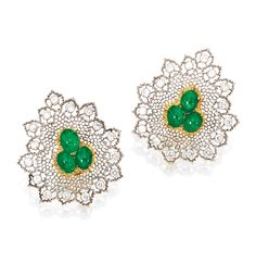 PAIR OF 18 KARAT TWO-COLOR GOLD, EMERALD AND DIAMOND EARRINGS, BUCCELLATI. The stylized mesh leaves centered by clusters of six cabochon emeralds weighing approximately 6.25 carats, the openwork border surrounds set with numerous round diamonds weighing approximately 2.25 carats, signed Buccellati, Italy. With signed box.