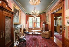 Brooklyn, New York Built in 1896.  Prospect Park West Park Slope Victorian row house crystal chandelier interior antique furniture
