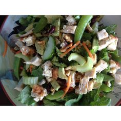 Romain lettuce , cucumber, celery, carrot, snap peas, Avacado, chopped walnuts, craisens, and yogourt based tzatzili dressing.