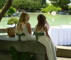 flowers girls at a green wedding