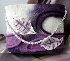 "Bag felted ""Lilac"" Design....really like the handle"