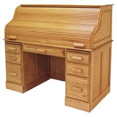 Haugen Customizable Roll-Top Double Pedestal Laptop Desk - 54 x 29 in. - RTD 8268 LAP CH_MOCHA